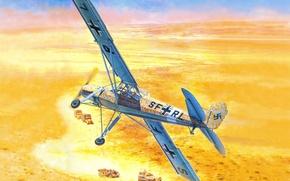 Picture the sky, desert, figure, art, Africa, the plane, column, German, WW2, small, avtobronetehnika, Fi 156, …