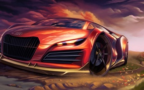 Picture red, Audi, art, supercar, car, sports, tuning.