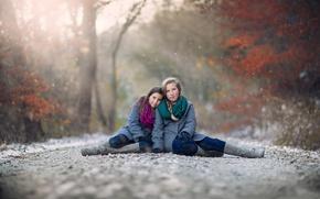 Picture road, autumn, snow, children, girls, bokeh