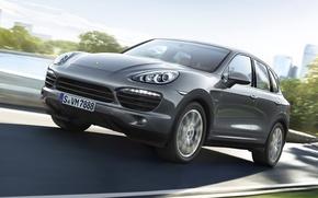 Picture road, grey, Porsche, jeep, the front, diesel, crossover, Diesel, Cayenne S, Porsche Cayenne