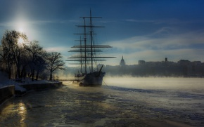 Picture fog, ship, Stockholm, Sweden, harbour