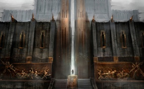 Picture the city, people, gate, the door, ladder, haze, fortress, Dragon Age 2, Kirkwall