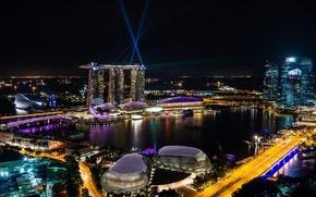 Picture sea, night, design, lights, coast, the building, road, home, Singapore, the hotel, bridges, megapolis, floodlight, …