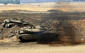 Wallpaper desert, smoke, Tank, merkava