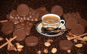 Wallpaper nuts, coffee beans, star anise, chocolate, cinnamon, coffee