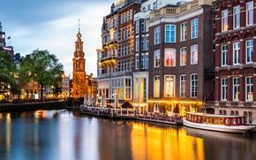 Picture building, Amsterdam, channel, Netherlands, promenade, Amsterdam, ship, Netherlands, Munt Tower, Munttoren