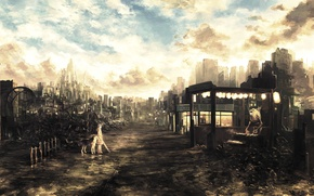 Picture road, future, robot, dog, umbrella, art, girl, ruins, postapokalipsis, Future, ruins, enterprising