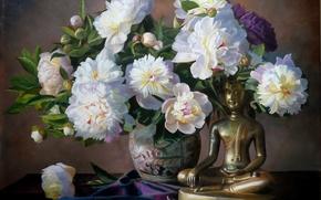 Wallpaper vase, flowers, picture, bouquet, Zbigniew Kopania, Buddha, still life, petals, peonies, figurine