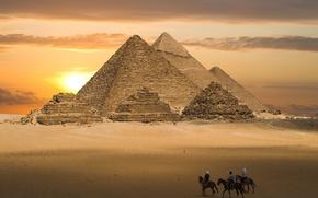 Wallpaper Egypt, huge, pyramid, sunset