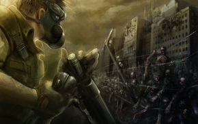 Wallpaper wire, soldiers, zombies, gas mask, bleed, barbed, the vest