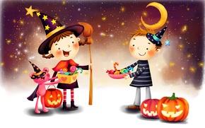 Wallpaper fantasy, the moon, figure, stars, boy, girl, pumpkin, lollipops, braids, broom, cloak, Halloween, smile, hats, ...