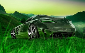Picture Mercedes-Benz, Nature, Auto, Grass, Machine, Mercedes, Wallpaper, Car, Nature, Grass, Art, Art, Green, Photoshop, Photoshop, …