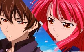 Picture girl, guy, red hair, Kaze No Stigma, Kazuma Yagami, Ayano Kannagi, Seal of the wind