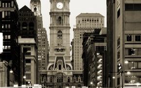 Picture night, the city, retro