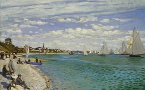 Picture boat, picture, yacht, sail, seascape, Claude Monet, Regatta at Sainte-Adresse