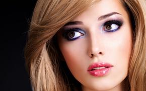 Picture eyes, look, girl, makeup, blonde, lips, black background