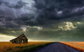 Picture storm, Road, the barn