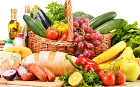 Wallpaper pepper, tomatoes, vegetables, bread, greens, grapes, lemon, basket, cucumbers, cheese, eggs, sausage, fruit, tomatoes, apples, ...