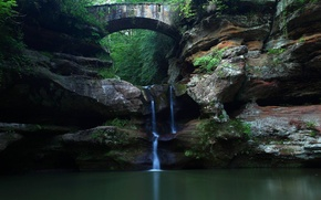 Picture waterfall, Nature, Bridge, Forest