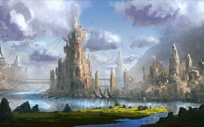 Picture water, mountains, bridge, the city, tower, art, fantasy world