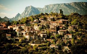 Wallpaper town, mountains, France, France, home, building, landscape