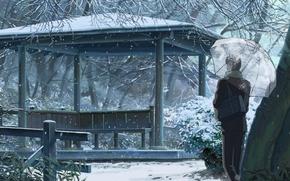 Picture snow, trees, Park, umbrella, guy, bag, gazebo, Kotonoha no Niwa, Garden of fine words, The ...