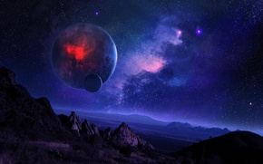 Picture space, mountains, night, nebula, landscape, planet, satellite, starry sky