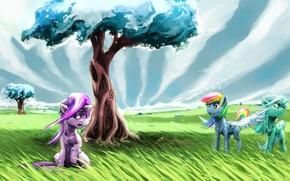 Picture the sky, grass, trees, art, pony, My Little Pony, Rainbow Dash, Twilight Sparkle, Trixie, Sharpie …