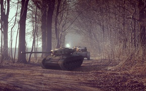 Picture road, trees, alley, tanks, military equipment, medium tank, T32