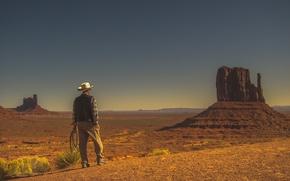 Wallpaper cowboy, dry, desert, Monument Valley