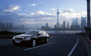 Picture machine, city, widescreen, road, America, Maybach, maybach 62 s