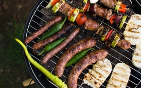 Picture meat, vegetables, sausages, grill, kebabs