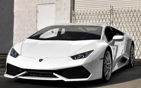 Picture Lamborghini, white, beach, Hurricane, newport