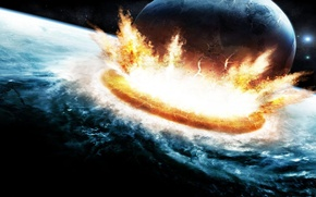 Picture the explosion, planet, clash
