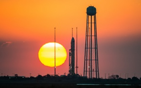 Picture the sun, sunset, rocket, NASA, spaceport, Antares