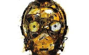 Picture robot, head, art, star wars, C-3PO