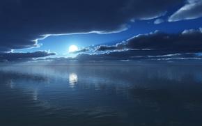 Picture sea, the sun, heaven