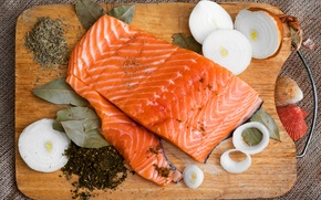 Picture fish, ring, bow, Board, spices, Bay leaf