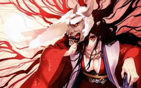 Picture the demon, mask, horns, kimono, red eyes, the witch, art, ueda ryou