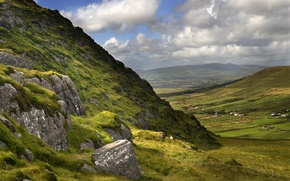 Picture field, Ireland, mountains, greens, clouds, Ireland, home, Valley, the slopes, County Kerry, County Kerry, view, ...