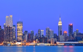 Picture the sky, lights, river, building, New York, skyscrapers, the evening, backlight, USA, USA, blue, megapolis, ...