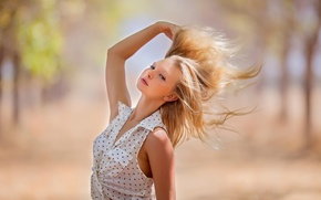 Wallpaper portrait, the sun, stroke, girl, hair