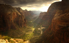 Wallpaper road, clouds, rocks, view, height, canyon, gorge, the sun's rays