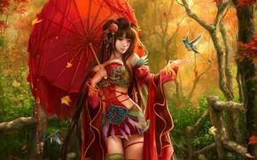 Picture autumn, leaves, girl, decoration, birds, umbrella, umbrella, feathers, art, sunmomo