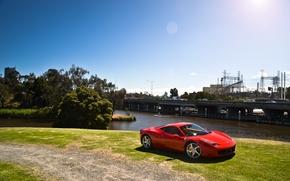 Picture the sky, trees, red, bridge, red, ferrari, Ferrari, Blik, trees, bridge, the view from the …