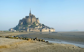 Picture the city, France, island, Normandy, monastery, Mont Saint Michel