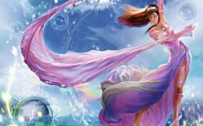 Picture girl, fantasy, the wind, magic