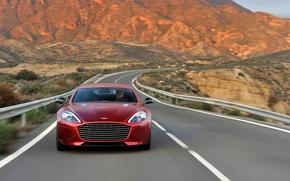 Picture road, landscape, mountains, lights, coupe, grille, emblem, Fast S