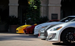 Picture white, yellow, red, tree, Maserati, silver, the building, nissan, silver, red, white, ferrari, Ferrari, porsche, ...