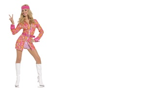 Picture Girl, White, Blonde, Smile, The world, Background, Feet, Boots, Disco, Tiffany Toth